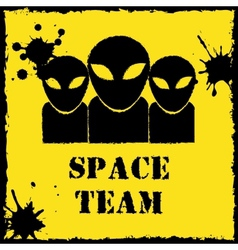 alien space team logo on yellow background vector image