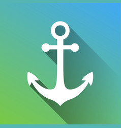 Anchor icon white icon with gray dropped vector