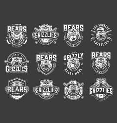 angry bear sport clubs mascot logos vector image