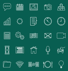 Application line icons on green background vector