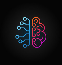 artificial intelligence brain creative line icon vector image