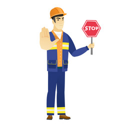 asian builder holding stop road sign vector image