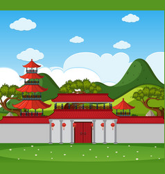 Background scene with chinese buildings and wall vector