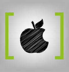bite apple sign black scribble icon in vector image