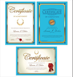 blue certificate template collection vector image