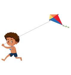 Boy play kite on white background vector