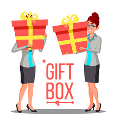 business woman holding red gift box vetor vector image
