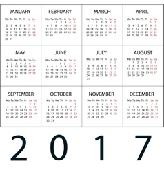 Calendar 2017 white background vector