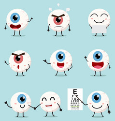 Cartoon eye ball collection set vector