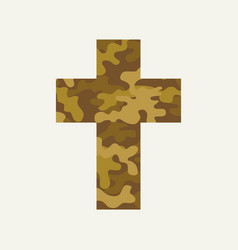 christian cross with army camouflage texture vector image