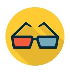 Cinema glasses flat icon vector image
