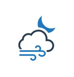 Cloudy night icon vector