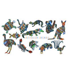 Colorful tribal set of australian animals vector