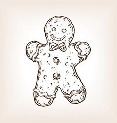 cookie man engraving vector image