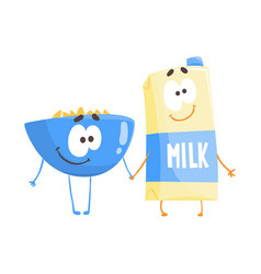 cute cartoon bowl of flakes and carton of milk vector image