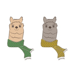 Cute hipster alpaca with scarf vector