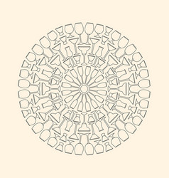 Decorative mandala composed of drinkware glasses vector