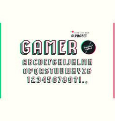 Decorative sans serif bulk font in the sport style vector