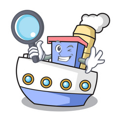Detective ship character cartoon style vector