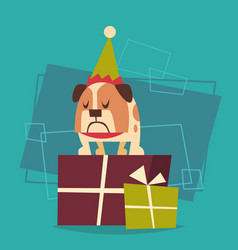 dog standing on gift boxes stack happy new year vector image