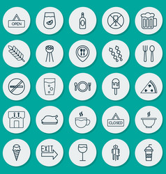 Eating icons set collection of closed placard vector