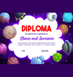 education school diploma with fantasy planets vector image