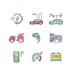 electric vehicle rgb color icons set vector image