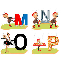 English alphabet set funny pictures words magnet vector