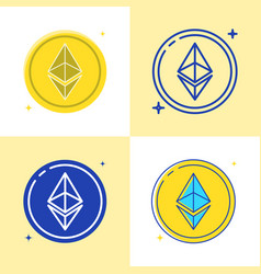 ethereum coin icon set in flat and line style vector image