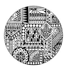 Ethnic tribal pattern in circle Black and white vector