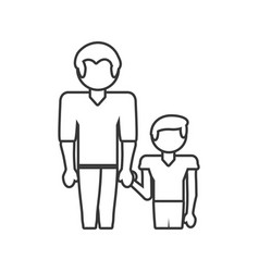 Father and son relation family outline vector