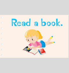 Flashcard with action word read a book vector