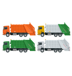 Flat garbage truck garbage recycling and vector