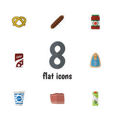 flat icon food set of beef cookie canned chicken vector image