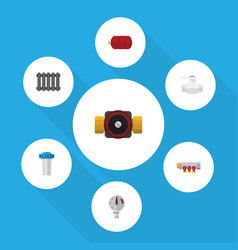 flat icon industry set of pressure heater tap vector image