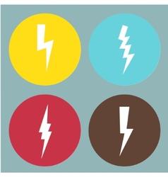 Flat lightning symbols set vector image