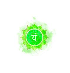 Fourth chakra anahata heart chakra logo template vector