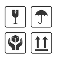 Fragile icon packaging symbol icon set vector