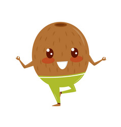 funny kiwi doing yoga exercise sportive fruit vector image