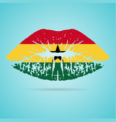 ghana flag lipstick on the lips isolated on a vector image
