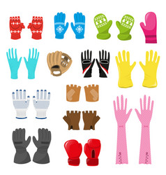 Glove woolen xmas mittens and protective vector