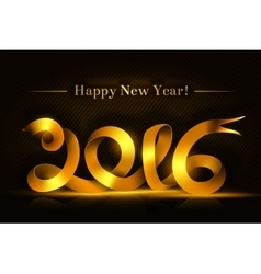 Gold happy new year ribbon on dark background vector