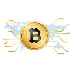 Golden bitcoin conceptual background map im vector