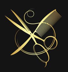 Golden scissors and comb vector