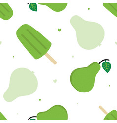 Green pears popsicles and hearts pattern vector