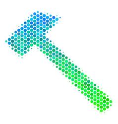 Halftone blue-green hammer icon vector