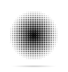 halftone dots radial with shadow on white vector image