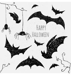 Halloween bat set vector image
