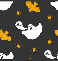 halloween seamless pattern hand drawn sketched vector image