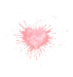 hand painted watercolor heart splash texture vector image